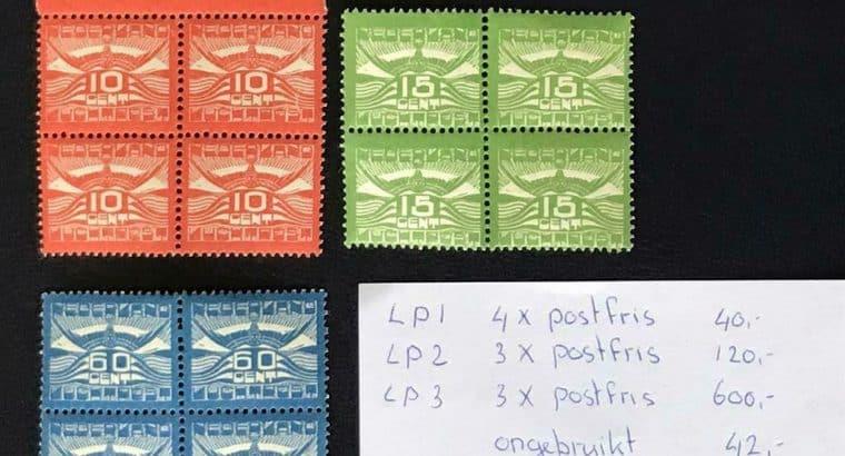 Luchtpost 1/3 postfris / ongebruikt in blokken van vier