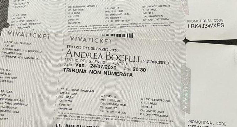 Last minute aanbieding! 2 kaartjes naar Andrea Bocelli in It
