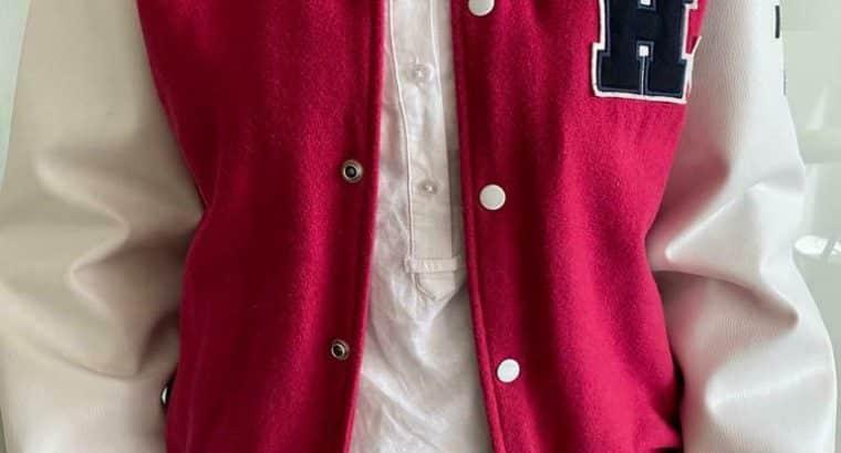 Vinted wollen varsity jacket / baseballjack met leren mouwen